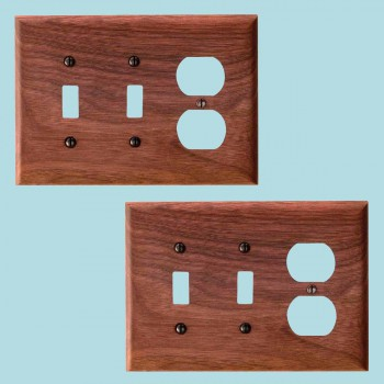 2 Switchplate Walnut 2 ToggleOutlet Switch Plate Wall Plates Switch Plates