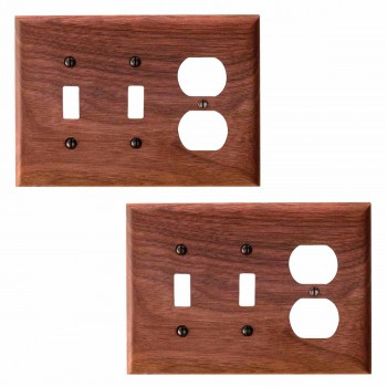 2 Walnut 2 Toggle/Outlet Switch Plate