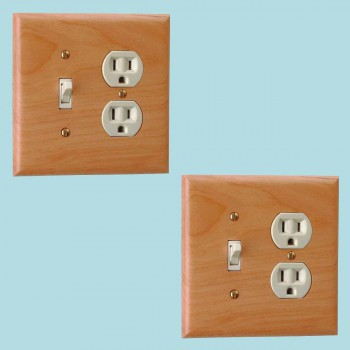 <PRE>2 Switchplate Cherry Hardwood Toggle/Outlet </PRE>zoom2