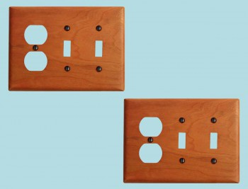 <PRE>2 Switch Wall Cover plate Cherry Double Toggle/Outlet </PRE>zoom2