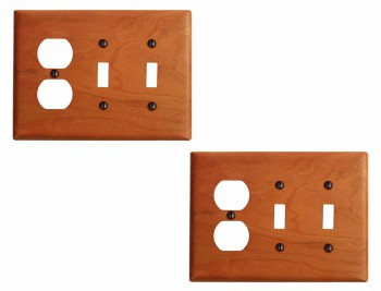 2 Cherry Hard wood Beveled Double Toggle/Outlet Switch Plate