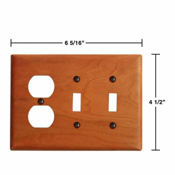 spec-<PRE>2 Switch Wall Cover plate Cherry Double Toggle/Outlet </PRE>