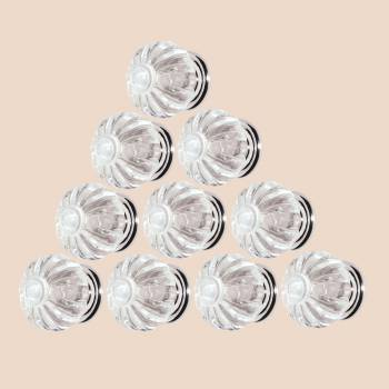 <PRE>10 Clear Acrylic Cabinet Knobs and Pulls 1 1/4 Inch Dia Chrome Back</PRE>