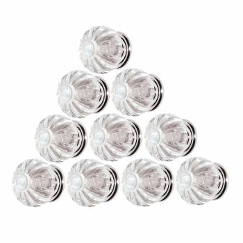 10 Clear Acrylic Cabinet Knobs and Pulls 1 14 Inch Dia Chrome Back