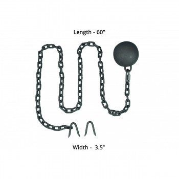 spec-<PRE>2 Gate Latch Cast Iron Cannonball & 5 Feet Chain </PRE>