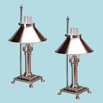 <PRE>2 Table Lamp Silvertone Brass Lamp 20&quot;H </PRE>