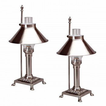 2 Table Lamp Silvertone Brass Lamp 20H Lamp Table Lights Lamps