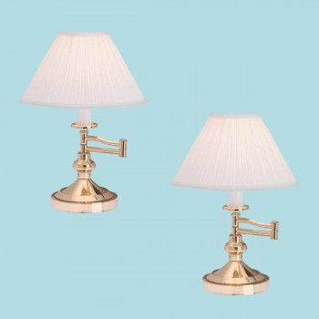 2 Table Lamp Bright Brass Table Lamp Eggshell Shade 15