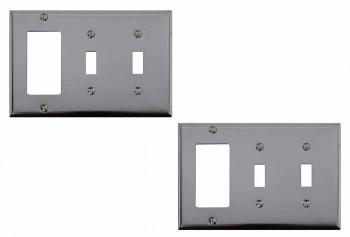 <PRE>2 Switchplate Chrome Double Toggle GFI </PRE>zoom1
