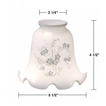 spec-<PRE>Glass Lamp Shade Blue Floral Tulip Glass 4.5&quot;Hx 2.25&quot; Fitter</PRE>