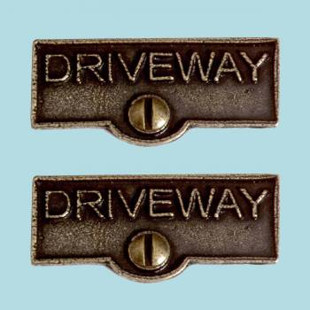 <PRE>2 Switch Plate Tags DRIVEWAY Name Signs Labels Cast Brass </PRE>zoom2