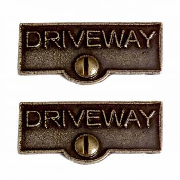 <PRE>2 Switch Plate Tags DRIVEWAY Name Signs Labels Cast Brass </PRE>zoom1