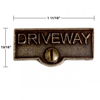 spec-<PRE>2 Switch Plate Tags DRIVEWAY Name Signs Labels Cast Brass </PRE>