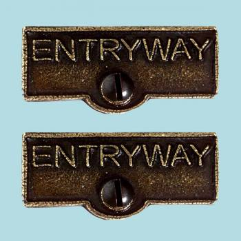 <PRE>2 Switch Plate Tags ENTRYWAY Name Signs Labels Cast Brass </PRE>zoom2