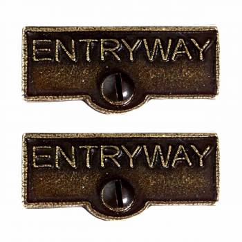 <PRE>2 Switch Plate Tags ENTRYWAY Name Signs Labels Cast Brass </PRE>zoom1