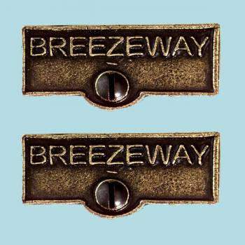 <PRE>2 Switch Plate Tags BREEZEWAY Name Signs Labels Cast Brass </PRE>zoom2