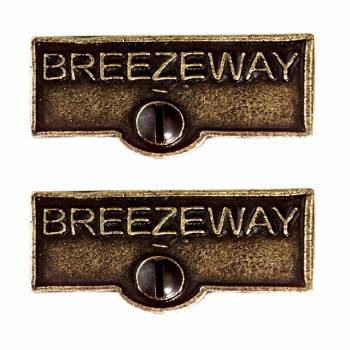 <PRE>2 Switch Plate Tags BREEZEWAY Name Signs Labels Cast Brass </PRE>zoom1