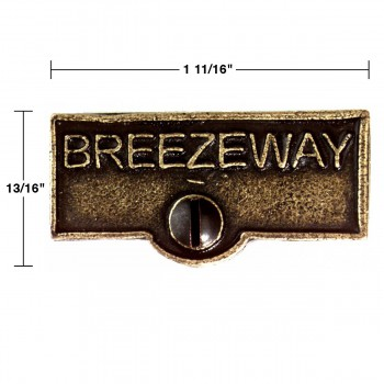 spec-<PRE>2 Switch Plate Tags BREEZEWAY Name Signs Labels Cast Brass </PRE>