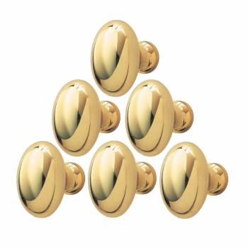 Solid Brass Polished Oval Cabinet Knob Set of 6 1-1/4