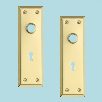 <PRE>2 Door Back Plate Bright Solid Brass Stamped w/Keyhole 7 3/4inch </PRE>zoom2