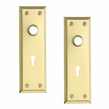 <PRE>2 Door Back Plate Bright Solid Brass Stamped w/Keyhole 7 3/4inch </PRE>zoom1