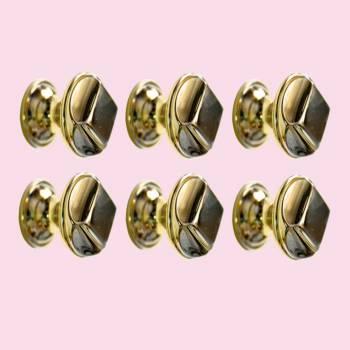 <PRE>6  Cabinet Knob Bright Cast Brass 1&quot; Dia X 7/8&quot; Proj </PRE>