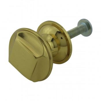 """<PRE>6  Cabinet Knob Bright Cast Brass 1inch Dia X 7/8"""" Proj </PRE>zoom8"""