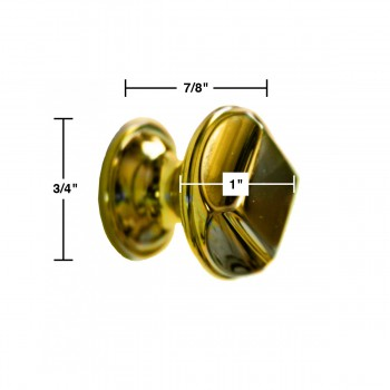 spec-<PRE>6  Cabinet Knob Bright Cast Brass 1&quot; Dia X 7/8&quot; Proj </PRE>