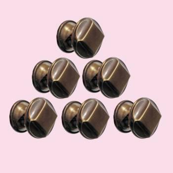 <PRE>6 Cabinet Knob Antique Solid Brass 1inch Dia </PRE>zoom2