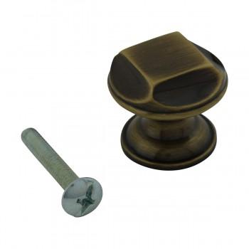 <PRE>6 Cabinet Knob Antique Solid Brass 1inch Dia </PRE>zoom4