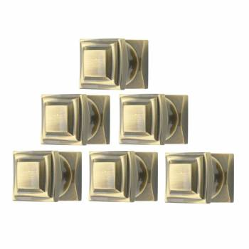 <PRE>6 Cabinet Knob Cast Antique Brass 1'' Square </PRE>zoom1