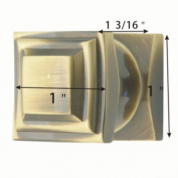 spec-<PRE>6 Cabinet Knob Cast Antique Brass 1'' Square </PRE>