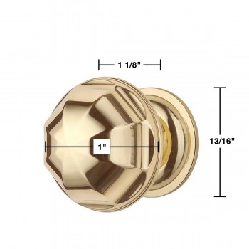 spec-<PRE>6 Cabinet Knob Bright Brass 1'' Diameter Octogonal </PRE>