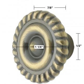 """spec-<PRE>6 Cabinet Knob Antique Solid Brass 1 1/4"""" Dia </PRE>"""