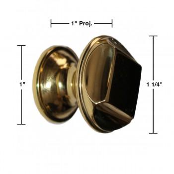 """spec-<PRE>6 Cabinet Knob Bright Solid Brass 1 1/4"""" Dia </PRE>"""