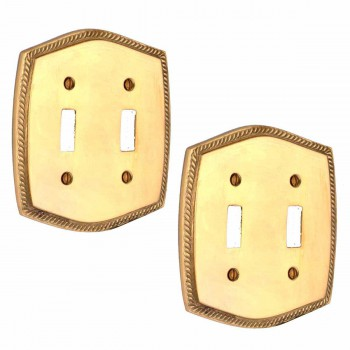 2 Colonial Bright Solid Brass 5 1/8 in. W Double Toggle switch plate