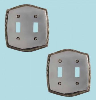 2 Switchplate Chrome 5 14 H Braided Double Toggle Switch Plate Wall Plates Switch Plates