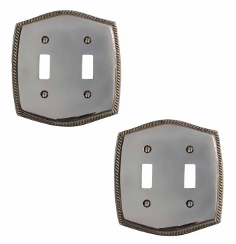 2 Colonial Chrome 5 1/4 in. H Braided Double Toggle Switch Plate