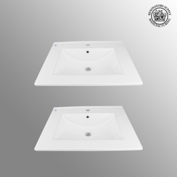 <PRE>2 Bathroom Drop-in Sink Square Self-Rimming White China </PRE>