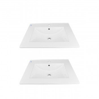 SelfRimming Square Bathroom Dropin Sink White China Set Of 2