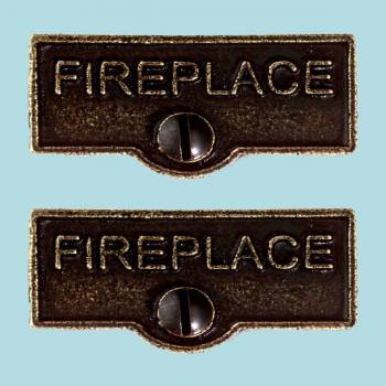 "<PRE>2 Solid Antique Brass Switchplate inchFireplace"" Label Decorative </PRE>zoom2"