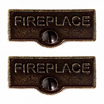 "<PRE>2 Solid Antique Brass Switchplate inchFireplace"" Label Decorative </PRE>zoom1"