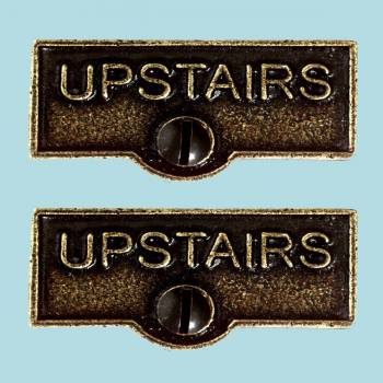 <PRE>2 Switch Plate Tags UPSTAIRS Name Signs Labels Cast Brass </PRE>zoom2