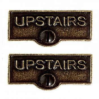 <PRE>2 Switch Plate Tags UPSTAIRS Name Signs Labels Cast Brass </PRE>zoom1