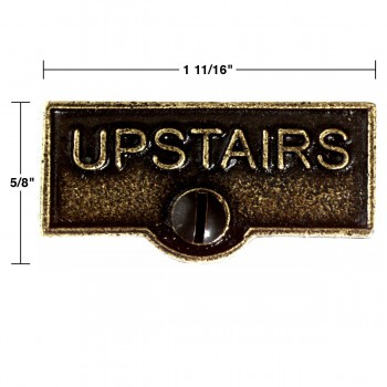 spec-<PRE>2 Switch Plate Tags UPSTAIRS Name Signs Labels Cast Brass </PRE>