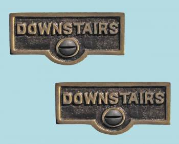 <PRE>2 Switch Plate Tags DOWNSTAIRS Name Signs Labels Cast Brass </PRE>zoom2