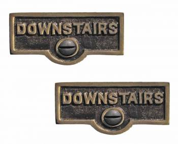 <PRE>2 Switch Plate Tags DOWNSTAIRS Name Signs Labels Cast Brass </PRE>zoom1