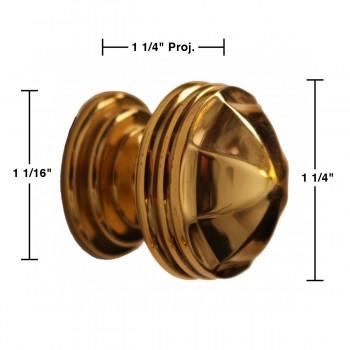 spec-<PRE>6 Cabinet Knob Bright Brass 1 1/4&quot; Dia Octagonal </PRE>