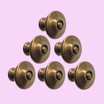 <PRE>6 Cabinet Knob Antique Solid Brass 1 1/4inch Dia </PRE>zoom2