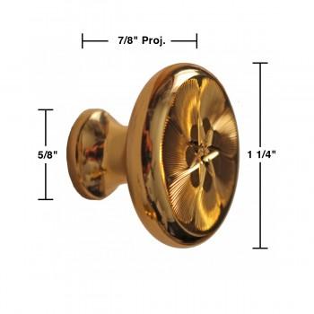 spec-<PRE>6 Cabinet Knob Bright Solid Brass 1 1/4&quot; Dia </PRE>